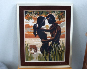 CANVAS the couple in a beautiful golden metal frame and velvet brown vintage 1970
