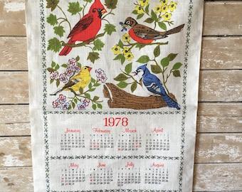 Vintage 1978 Linen Calendar Wall Hanging Birds