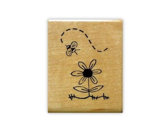 Bee and Flower mounted rubber stamp Summer, bug, insect, buzzy honey bee, bumblebee, Sweet Grass Stamps #9
