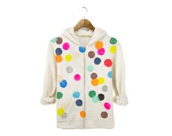 Colorful Confetti Hoodie - Fleece Long Sleeve Hooded Zip Sweatshirt in Heather Oatmeal & Rainbow Dots - Women's Size S-4XL