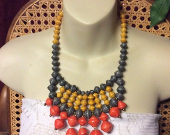 Wrapped paper beads bib necklace.