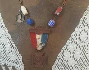 WOMEN of AMERICA  vintage  assemblage antique patriotic USA necklace