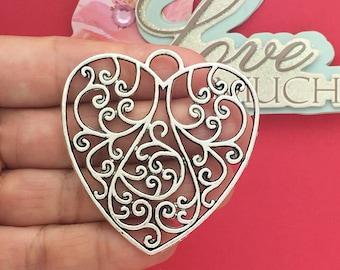 2 Silver Filigree Heart Pendant SP0652