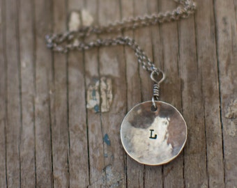 Personalized initial necklace, hand stamped necklace, monogram necklace, initial necklace