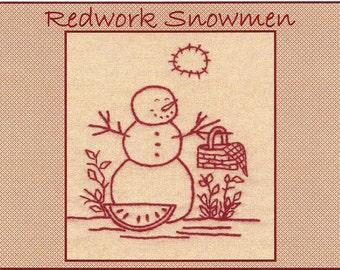 Redwork Snowmen - August - Redwork Hand Embroidery Pattern by Beth Ritter - Instant Digital Download