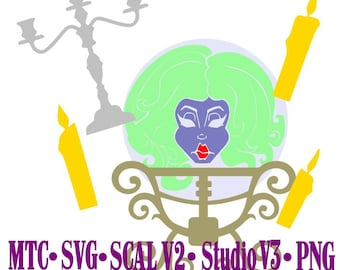 Madame Leota Haunted Mansion Cut Files MTC  SVG File Format with B&W traceable JPEG
