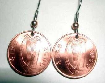 Coin earrings-Lucky Irish Penny earrings-free shipping