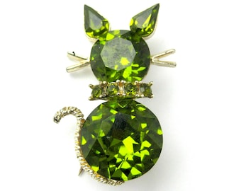 Vintage Citron Green Crystal Cat Pin or Brooch / Marked Dodds / Rhinestone Studded Collar / Cat Lover Jewelry / Figural Novelty Gold Brooch