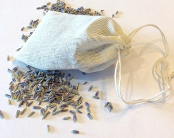 Organic Lavender Sachet Bags 100% unbleached cotton for closet or drawers.