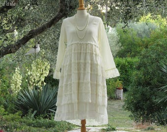 Dress in cotton voile and romantic pale yellow lace and shabby chic