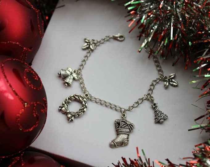 SALE Christmas Holiday Silver Charm Bracelet.