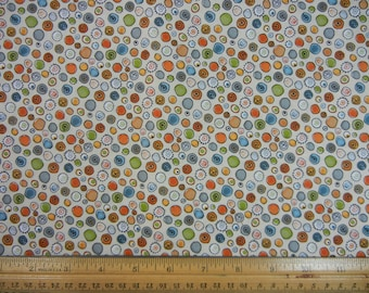 Tan with Multi Color Circles - Timeless Treasures - Br-1-2