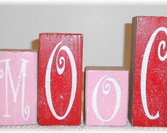 Valentine's Day Smooch Blocks Wood Set Pink And Red With Glitter Valentine Wood Blocks
