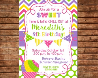 Girl Invitation Shaved Ice Snow cone Snowcone Birthday Party - Can personalize colors /wording - Printable File or Printed Cards
