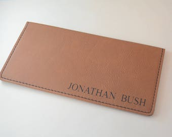 Personalized Checkbook Cover, Vegan Leather, Checkbook Wallet, Checkbook Pocket, Checkbook Cover, Engraved Checkbook Cover, Check Book Cover