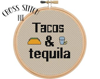 Tacos & Tequila Cross Stitch  Kit. Beginner Cross Stitch. Funny Cross Stitch. Kitchen Embroidery. Embroidery Kit.  Modern Cross Stitch Kit.