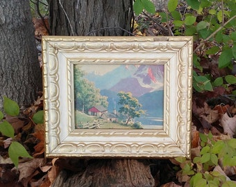 Vintage Picture in Wood Gesso Style Frame FW Woolworth's Co. with Original Price Tag Mountain Cabin Boy with Dog