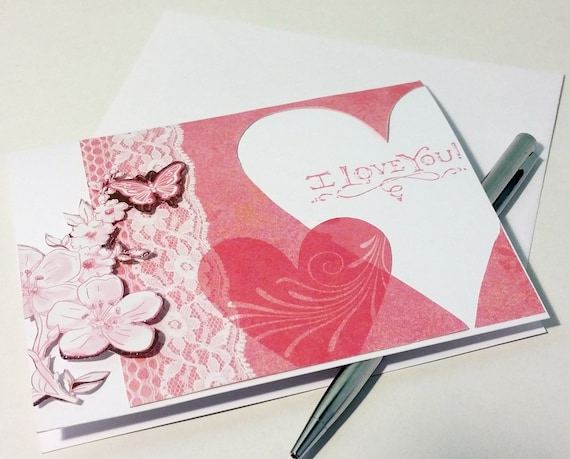 I love you card valentine cards handmade love card for her like this item m4hsunfo
