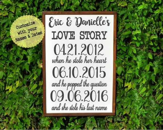 Family name sign realtor closing gift engagement date sign