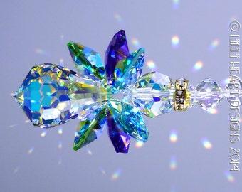 Suncatcher m/w Rare Vintage Swarovski Crystal the Original *PEACOCK COLORS ANGEL*  Rare Aurora Borealis Body and Wings Lilli Heart Designs