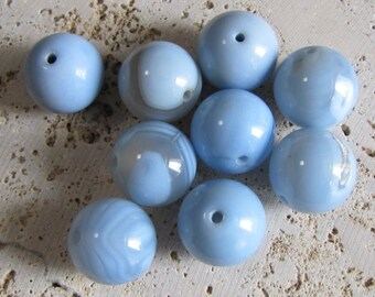 9 20mm Large Round Stone Blue Mist Agate, Jewelry Statement Beading Supplies, Britz Beads Supply
