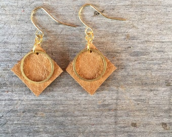 Light Brown Circle Leather Earrings - Leather Earrings - Boho Earrings - Leather Drop Earrings - Leather Dangle Earrings - Gift for Her