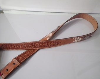 Wide Leather Belt Tooled Size 44 Cowboy - Rawhide Stitching Metalwork - Nocona Made in Texas