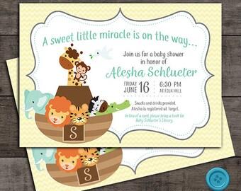 Noah's Ark Animal Baby Shower Invitation - Customizable - Digital File