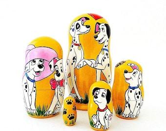 Matryoshka 101 Dalmatians nesting dolls, Dalmatians Dogs russian wooden stacking dolls
