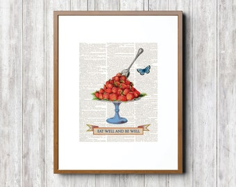 Strawberries, Vintage Strawberries, Strawberry Ephemera, Prints Kitchen, Antique Strawberries, Vintage Strawberries, Red Fruit, Fruit Art,