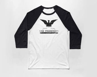 San Francisco Flag 3/4 Sleeve Baseball T Shirt - Vintage Cotton/Poly Blend Apparel For Men & Women