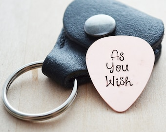 Custom Guitar Pick - Hand Stamped Personalized Guitar Pick Keychain - Custom Text Guitar Pick - Gift for Him - Leather Guitar Pick Case