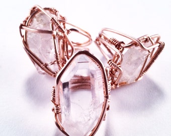 Grade AAA Clear Quartz with Copper Wire Wrap Ring