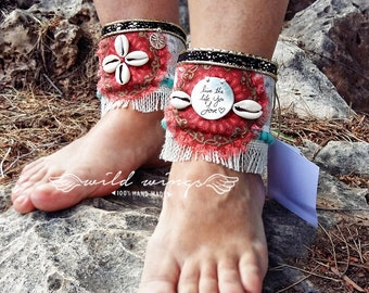 Sweet Ankle Cuffs,shell ankle cuffs,bohemian boot covers,fringe cuffs,gypsy boot,wrap ankle cuff,boot bracelet,cuffs wraps,banjara,artisan