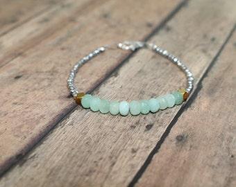 Amazonite Bracelet, Beaded Bracelet, Amazonite Jewelry, Gemstone Bracelet, Hematite Beaded Bracelet