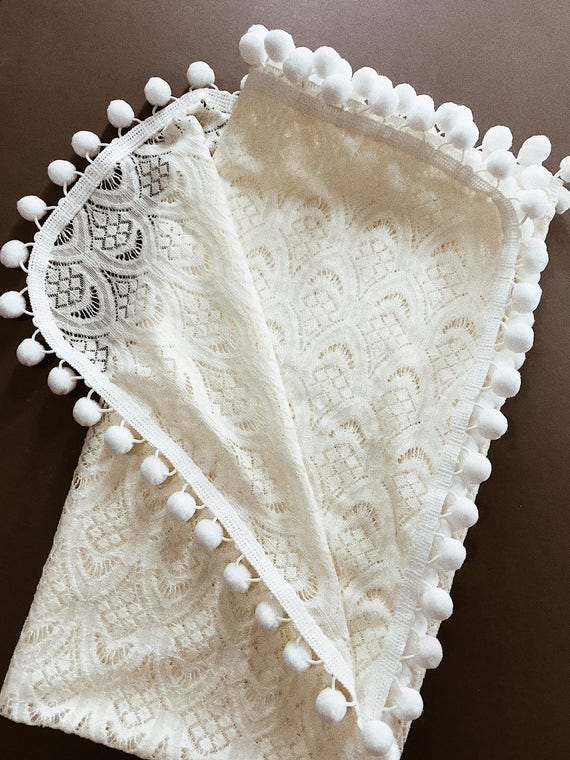 Heirloom Lace Pom Swaddle