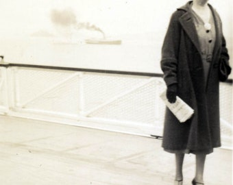 vintage photo 1939 Woman on Board Ferryboat Looking Lost Looks up to SKy