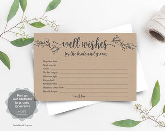 Well wishes for the bride and groom printable PDF template, Instant download wedding Advice Card, rustic floral calligraphy (TED418_51)