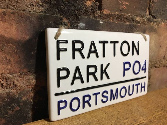 Man Cave Portsmouth : Portsmouth fratton park football club sign