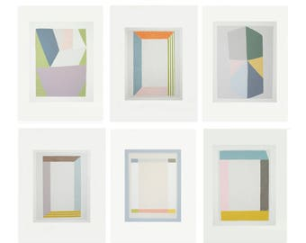 Feature wall art, Set of original handmade silkscreen prints, contemporary art by Emma Lawrenson. Architecture, color block, geometric set.