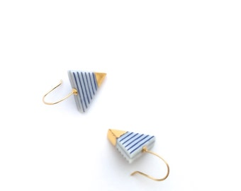 Porcelain ceramic earrings, minimalist jewelry, gold dipped, Blue and white stripes, Triangle earrings, Nautical style, geometric earrings