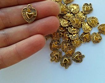 Dark Gold Tibetan Heart Charm// Antique Gold Heart Pendant// 15x12.5 mm// 20 Pieces