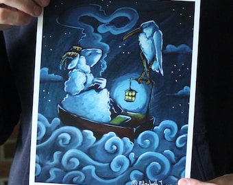 Sheep and Stork, Having Tea in a Boat at Night; Fine Art Print