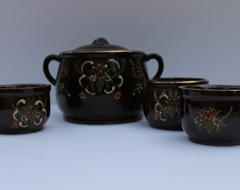 Vintage Japanese Rice Tureen with 3 bowls/Lidded Rice crock with Matching Bowls/Tureen and Bowl Set/Crockware Tureen and Bowl Trio