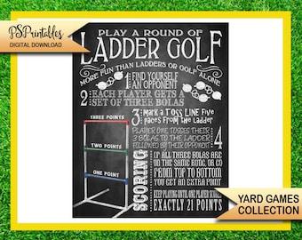 yard games - ladder golf yard game sign - bbq yard games - ladder golf rule sign - yard game sign - printable yard sign - diy yard game sign