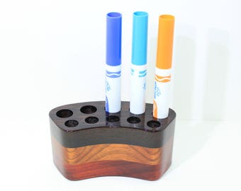Wenge - Padauk - Jatoba - Exotic Woods - Pen Display - Wooden Pen Holder - Tool Holder - Office Decor - Display Stand - Wooden Organizer