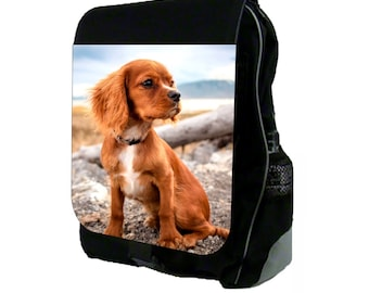 Cavalier Puppy In The Wind - Large Black School Backpack