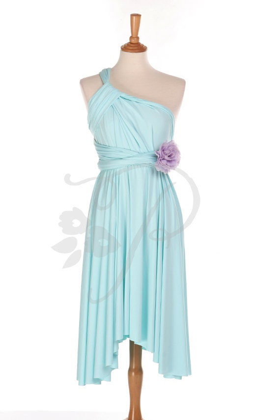 Brautjungfer Kleid Infinity Kleid Aqua Blau Knie Länge Cabrio