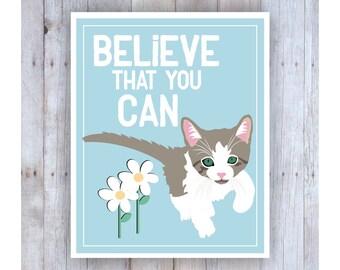 Cat Nursery Art, Classroom Decor, Cat Art, Inspirational Cat Art, Print for Kids, Believe Art Print, Classroom Wall Art, Kitten Art