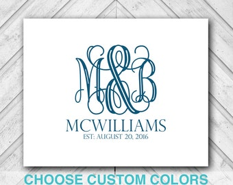 Canvas Guest Book Monogram | gray wedding guestbook ideas | Printable, Poster or Canvas Options
